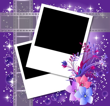 photo album page: Page layout photo album with flowers and filmstrip