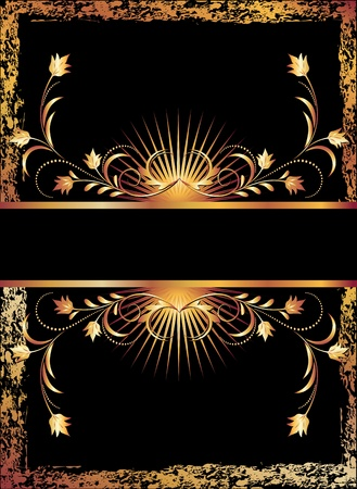 gilt: Black background with  luxurious copper ornament Illustration