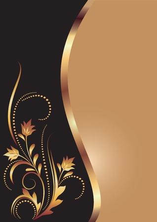 elegante: Sfondo con ornamenti d'oro per arte e di design vari