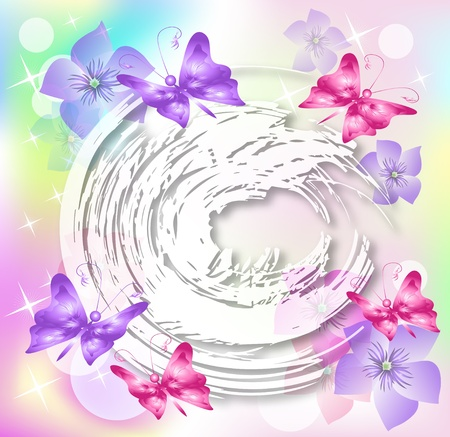 transparent brush: Floral background for an insert of the text or a photo. Illustration