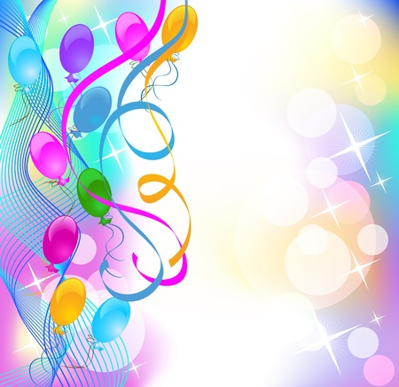 Background with balloons and serpentine Stock Vector - 10343113