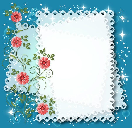lace edges: Magic floral background with stars and a place for text or photo.