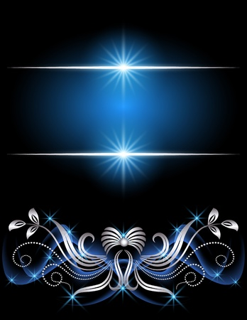 Background with silver ornament with stars Illustration