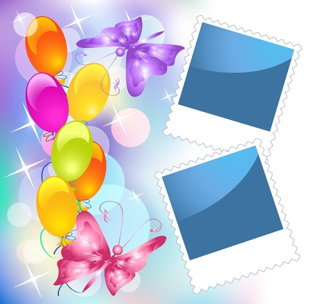 photography backdrop: Background with balloons, butterflies and photo frame