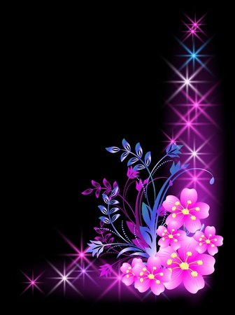 Glowing background with flowers and stars Stock Vector - 10343127
