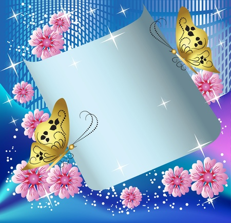 Magic background with paper, butterflies and a place for text Vector