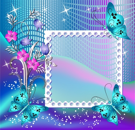 Design photo frames with flowers and butterfly for inserting text or photo Vector