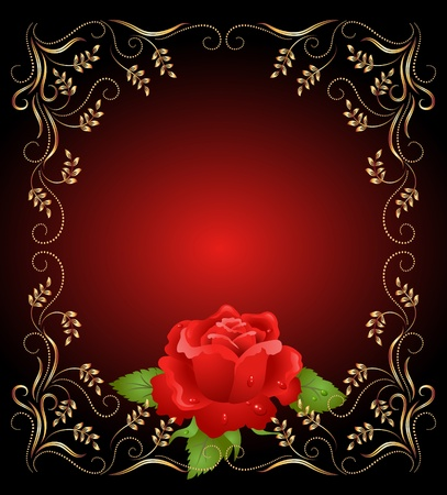 Red rose with golden frame  Vector