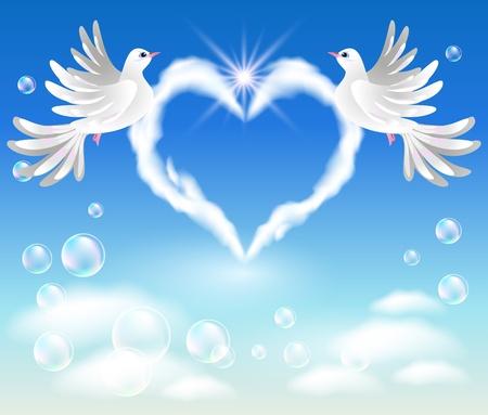 point chaud: Deux colombes dans le ciel et les nuages en forme de c?ur