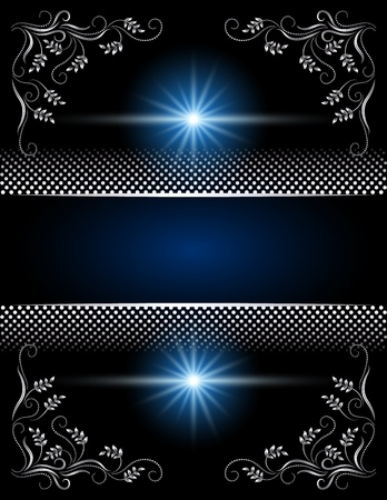 Background with silver ornament and stars Stock Vector - 10343124
