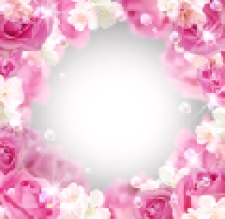 pink bubbles: Card with roses and white flowers. Vector mosaic