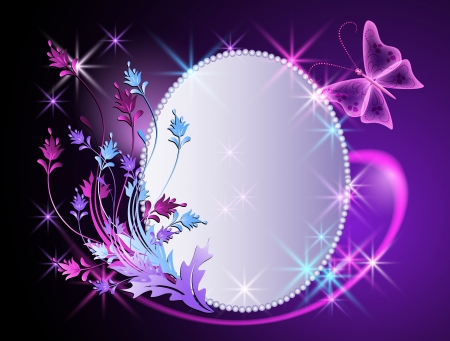 Glowing background with billboard, transparent butterfly and flowers ornament Vector