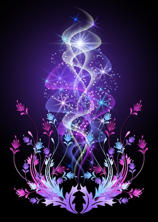Glowing background with smoke, flowers and stars Stock Vector - 10343144