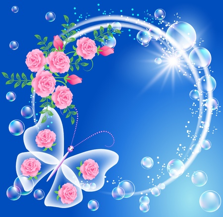 fantasy: Butterfly, bubbles and flowers