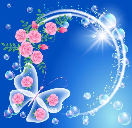 fantasia: Mariposa, burbujas y flores