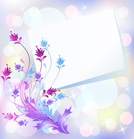 insert: Floral background for an insert of the text or a photo. Illustration
