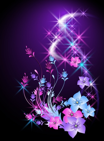abstract flowers: Glowing background with flowers and stars