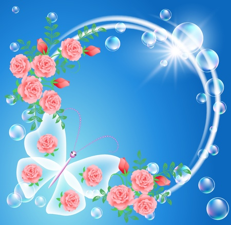 Butterfly, bubbles and flowers Vector