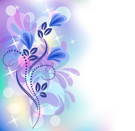 transparent brush: Floral background with bokeh and stars