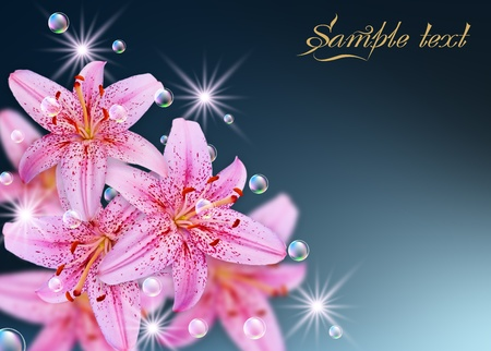 pink lily: Card with lily, bubbles and stars