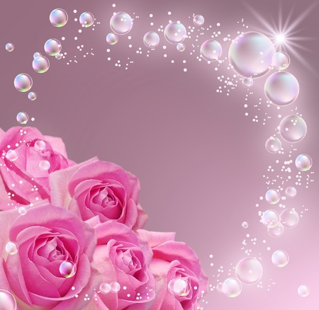 pink bubbles: Card with roses, bubbles and star