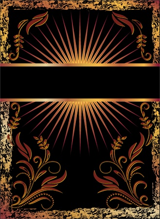 excoriation: Black background with  luxurious copper ornament Illustration