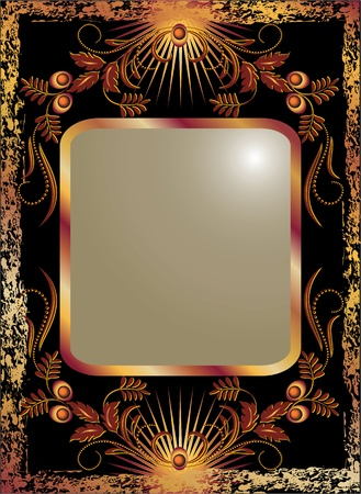 Black background with  luxurious copper ornament Ilustrace