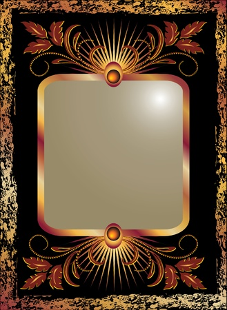 ornate gold frame: Black background with  luxurious copper ornament Illustration
