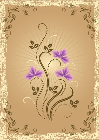 Card in retro style with meadow flower Stock Vector - 10373798