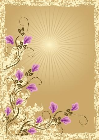 bordi: Carta in stile retr� con fiore prato