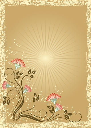 scratch card: Card in retro style with meadow flower