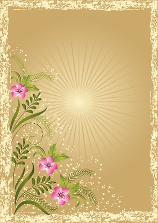 flower frame: Card in retro style with meadow flower