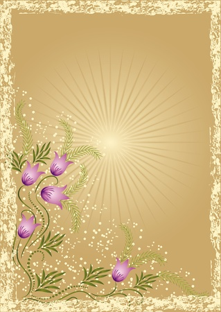 Card in retro style with meadow flower Vetores