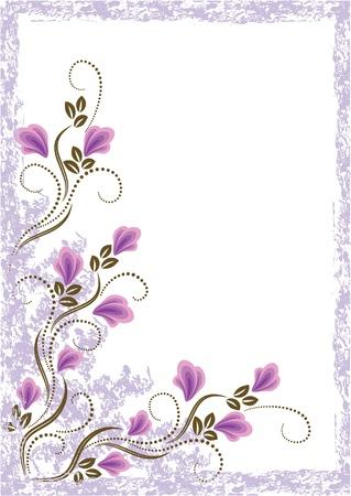 krökt: Kort i retrostil med äng blomma