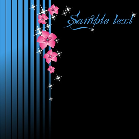 striped band: Stylized postcard with flowers and stars Illustration