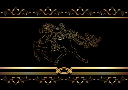 racehorse: Background with golden horse Illustration
