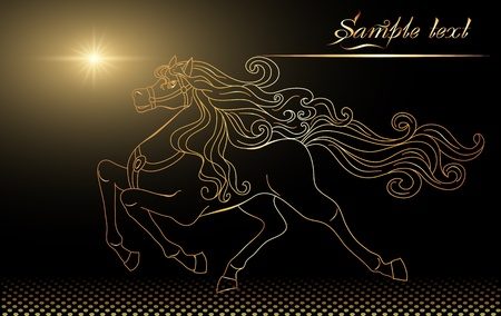 horses in the wild: Background with golden horse and stars