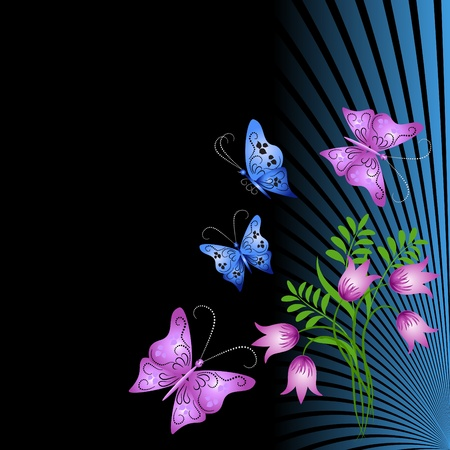 Floral ornament with butterfly Vector