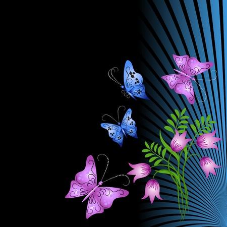 tattoo butterfly: Ornamento floreale con farfalla