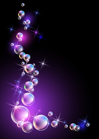 light beams: Glowing background with bubbles and stars