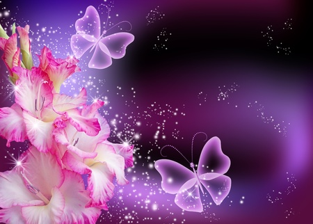 fantasy butterfly: Gladiolus and stars