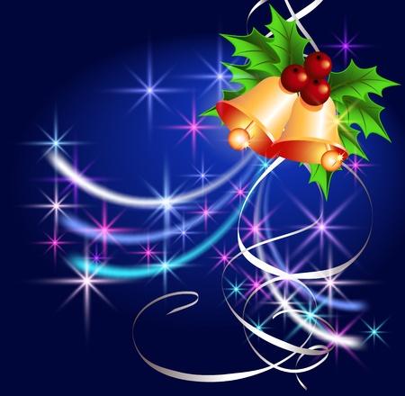 salut: Jul bakgrund med klockor, serpentin och stjärnor