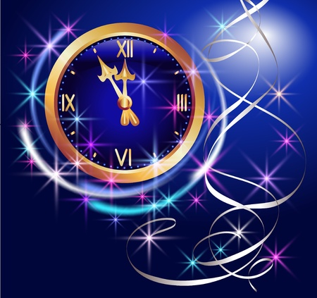 celebration eve: Glowing background with clock and stars