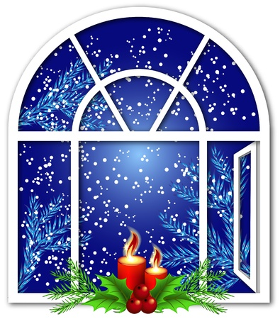 decorated christmas tree: Christmas window with candles and snow Illustration