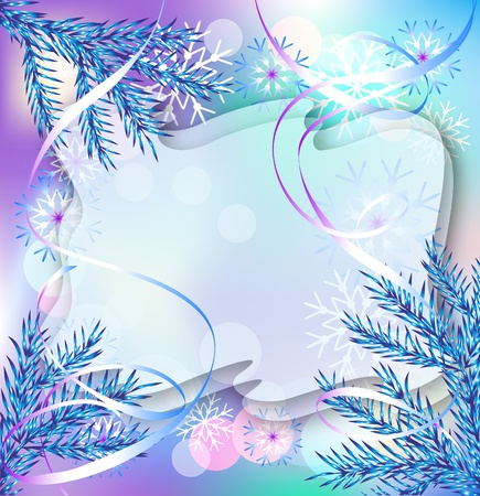 yule: Christmas background with fir branches, snowflakes and serpentine