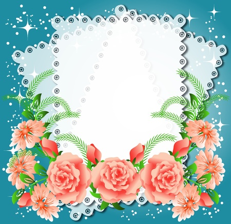 Magic floral background with stars and a place for text or photo. Stock Vector - 10473539