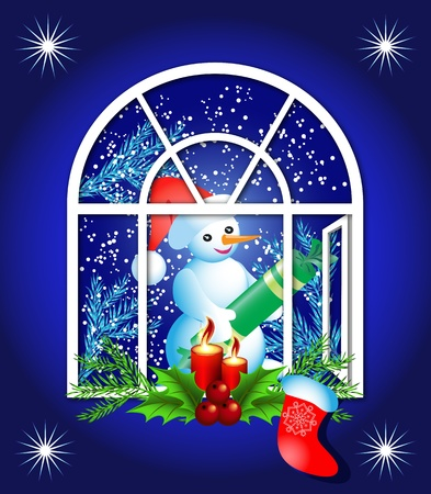 Christmas window with candles and snowman Vector