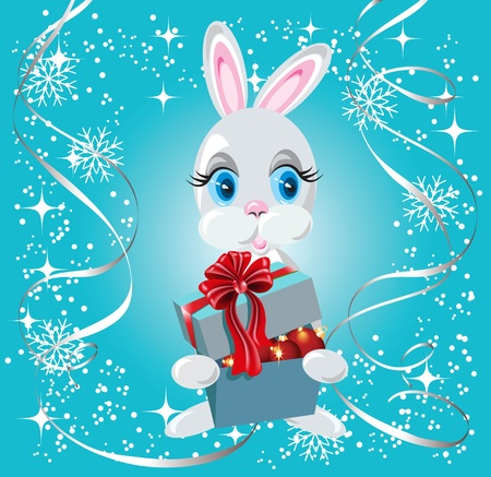 Christmas background with rabbit and gift box Vector