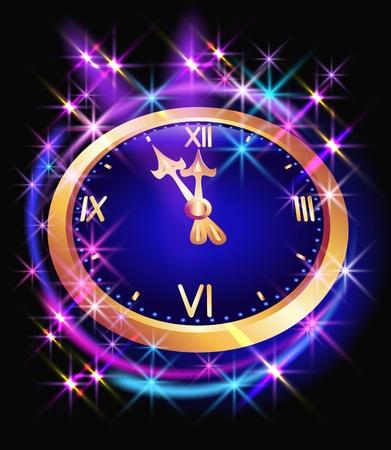 lucero: Fondo resplandeciente con reloj y estrellas Vectores