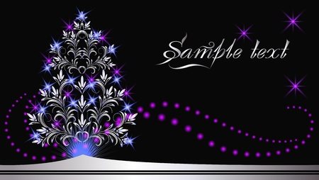furtree: Christmas silver fur-tree with colorful lights